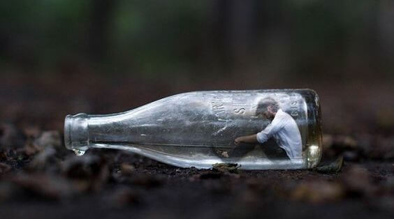 man in bottle