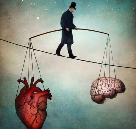 man on tightrope balancing heart and brain