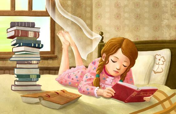 Girl Reading in Bed