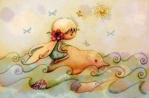 Girl Riding Dolphin