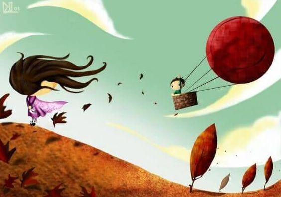 Man Leaving Woman on Hot Air Balloon