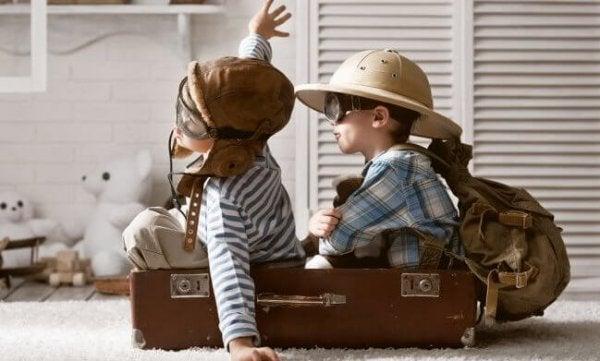 children in pretend airplane