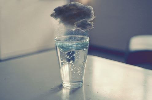 cloud over glass of water