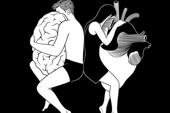 man hugging brain and woman hugging heart