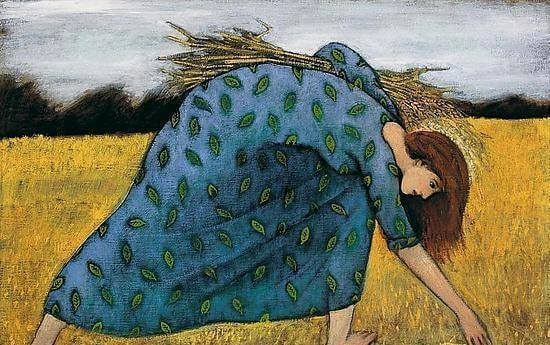 woman harvesting wheat