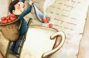 a small man pouring hearts into coffee cup