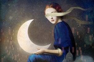 girl holding moon