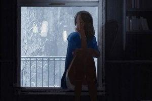 girl in dark house