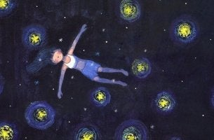 girl swimming in a starry sky