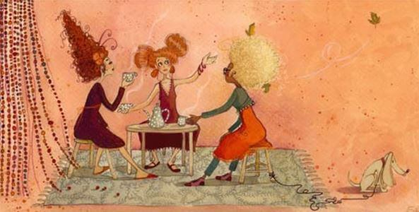 three women having coffee