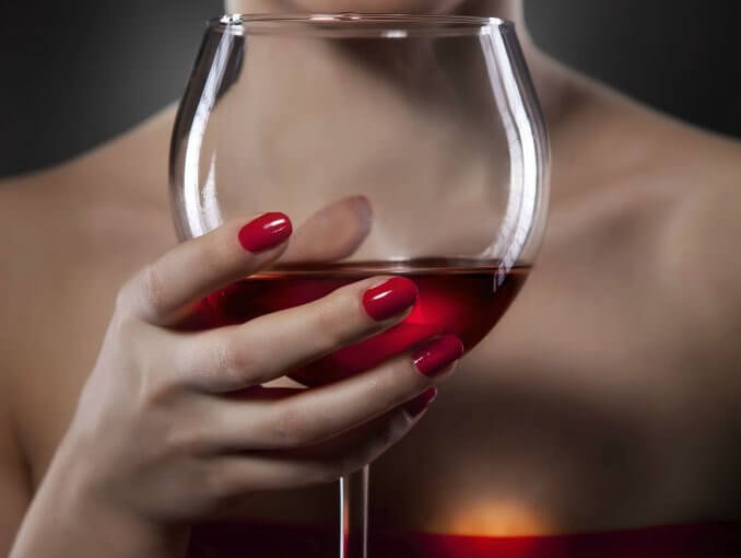 wine glass red fingernails