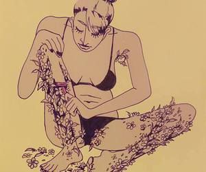 woman shaving flowers