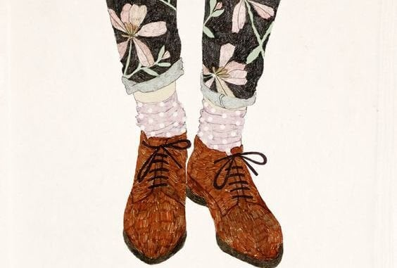 brown shoes and floral pants
