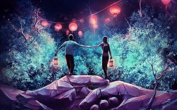couple and lanterns above giant holding hands