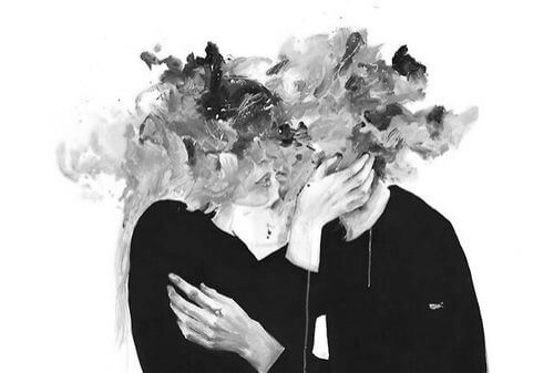 couple kissing head as splatters