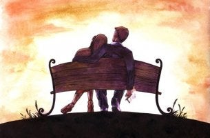 couple on a park bench