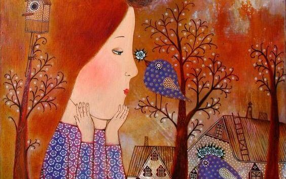 girl and a blue bird