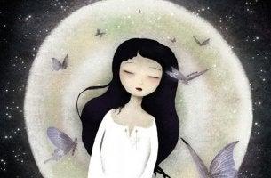 girl asleep with butterflies