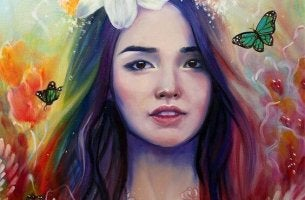 girl with rainbow hair