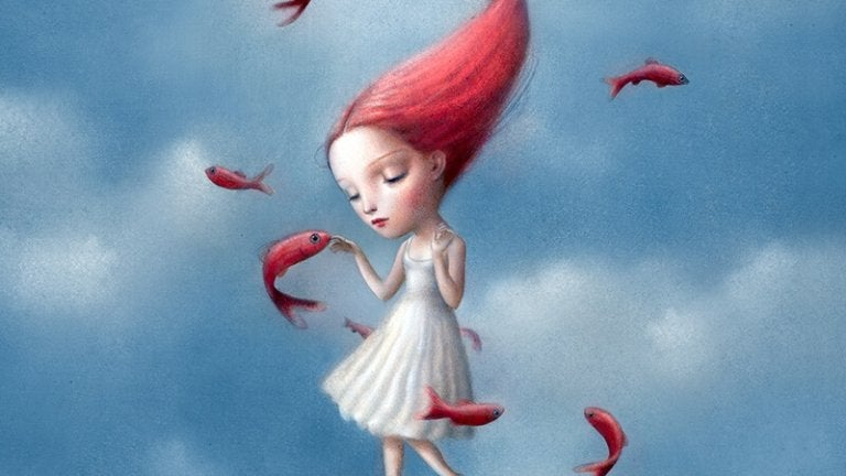 girl with red hair and fish