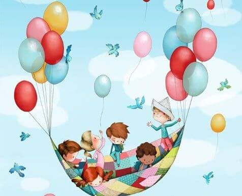kids flying on a blanket help up by balloons