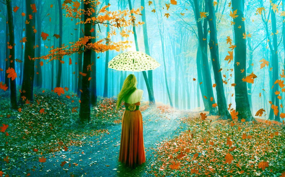 lady with umbrella in the forest