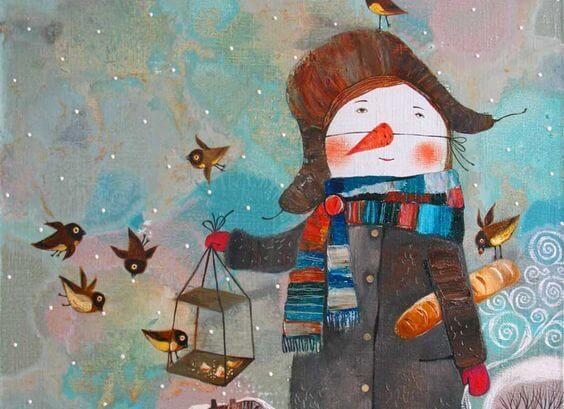 snowman and birds
