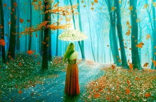 woman in the forest with an umbrella