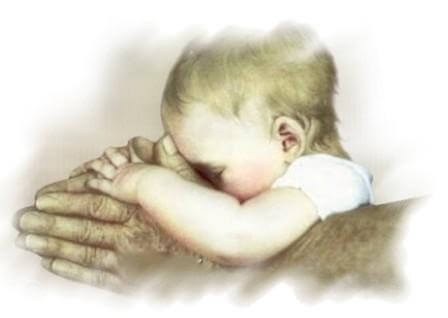 baby in grandfathers hands