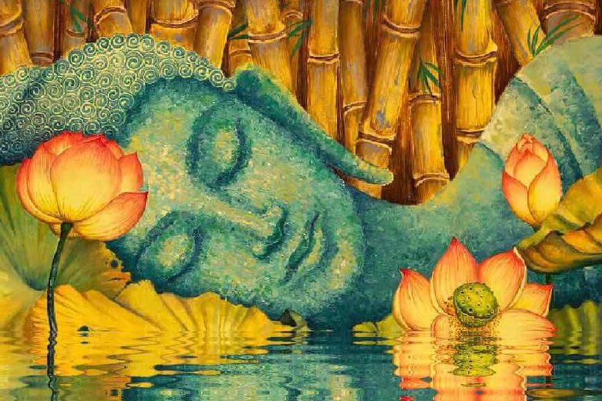 buddha sleeping on a lake