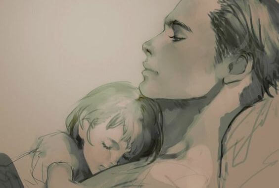 daughter and father sleeping