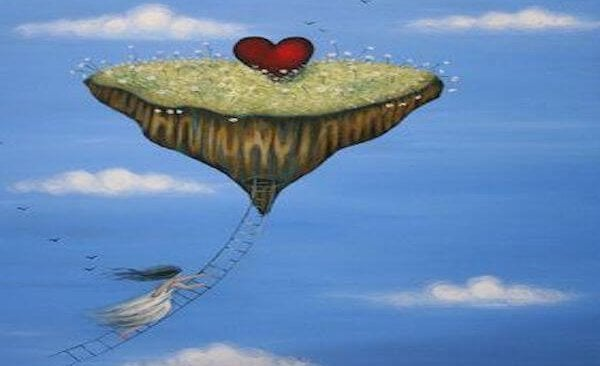 floating island with heart