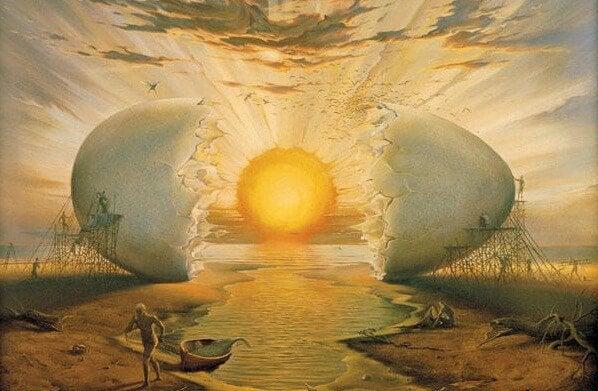 giant egg with sun as yolk