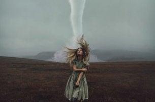 girl near tornado