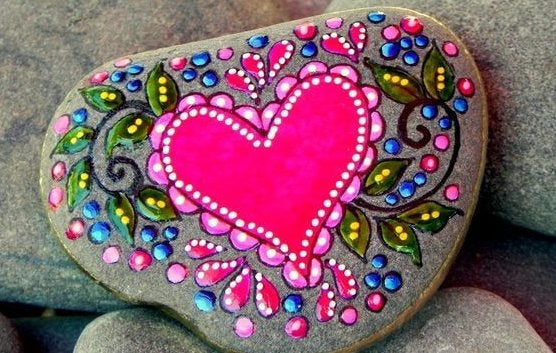 heart painted on a rock