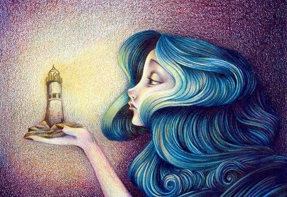 woman with blue hair holding lighthouse