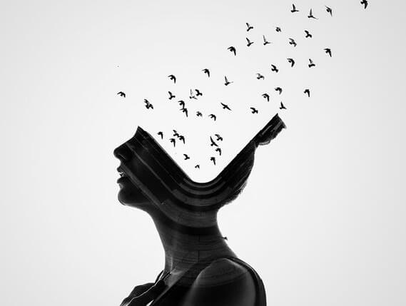 birds flying out of a womans head