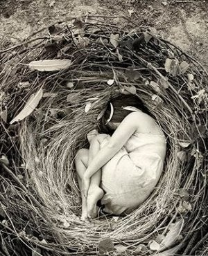 girl in nest