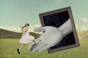 girl jumping on a giant hand
