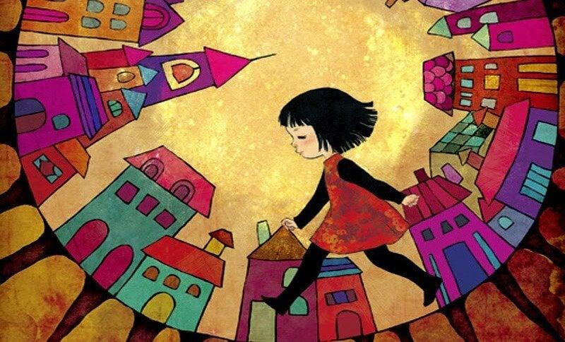 girl walking through a city