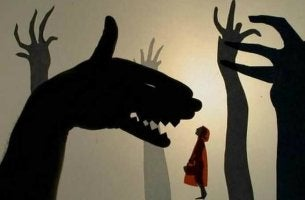 little red riding hood and hand shadow of the wolf