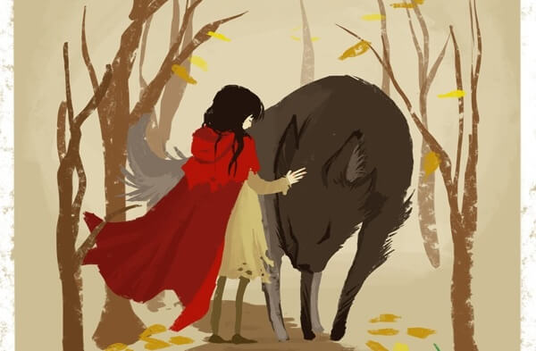 little red riding hood and wolf embracing