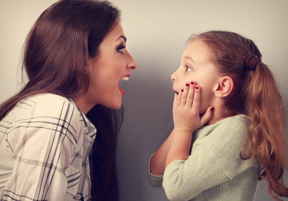 mom and daughter surprised