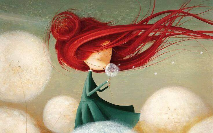 red-headed girl and dandelion