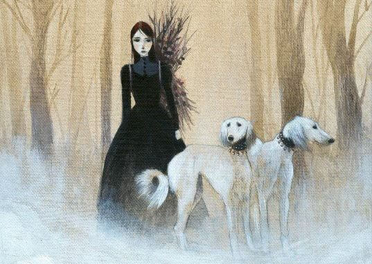 sad woman and two dogs