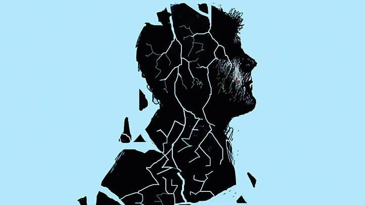 shattered silhouette of man