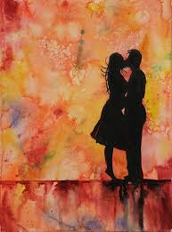 watercolor couple kissing
