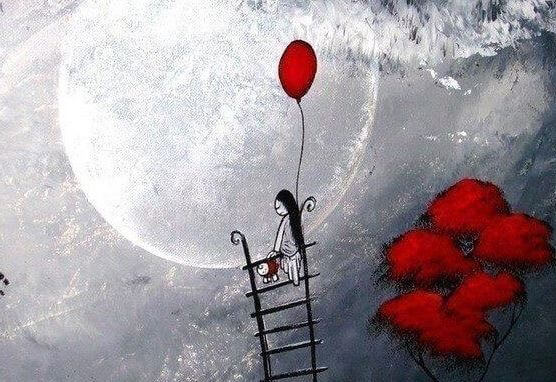 woman and red balloon