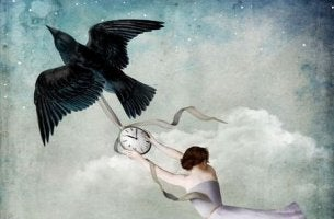 bird carrying clock and woman
