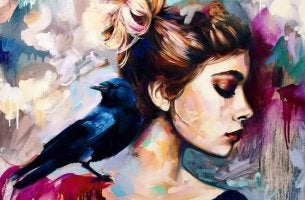 A colorful woman has a bird.